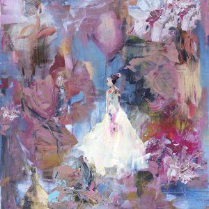 kvinnor blommor konst