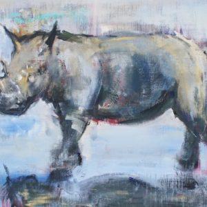noshörning tavla akryl målning